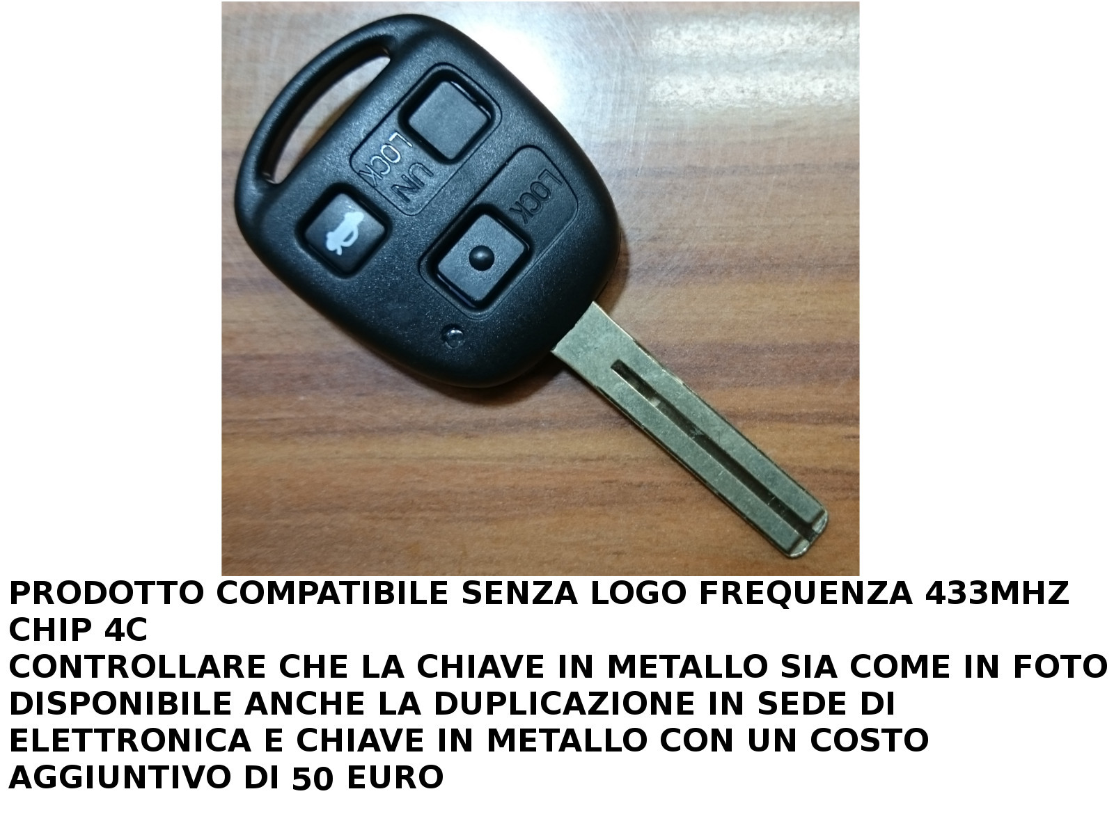 CHIAVE TELECOMANDO 433MHZ CON CHIP 4C COMPATIBILE CON LEXUS GS GX IS RX DISPONIBILE DUPLICAZIONE IN SEDE