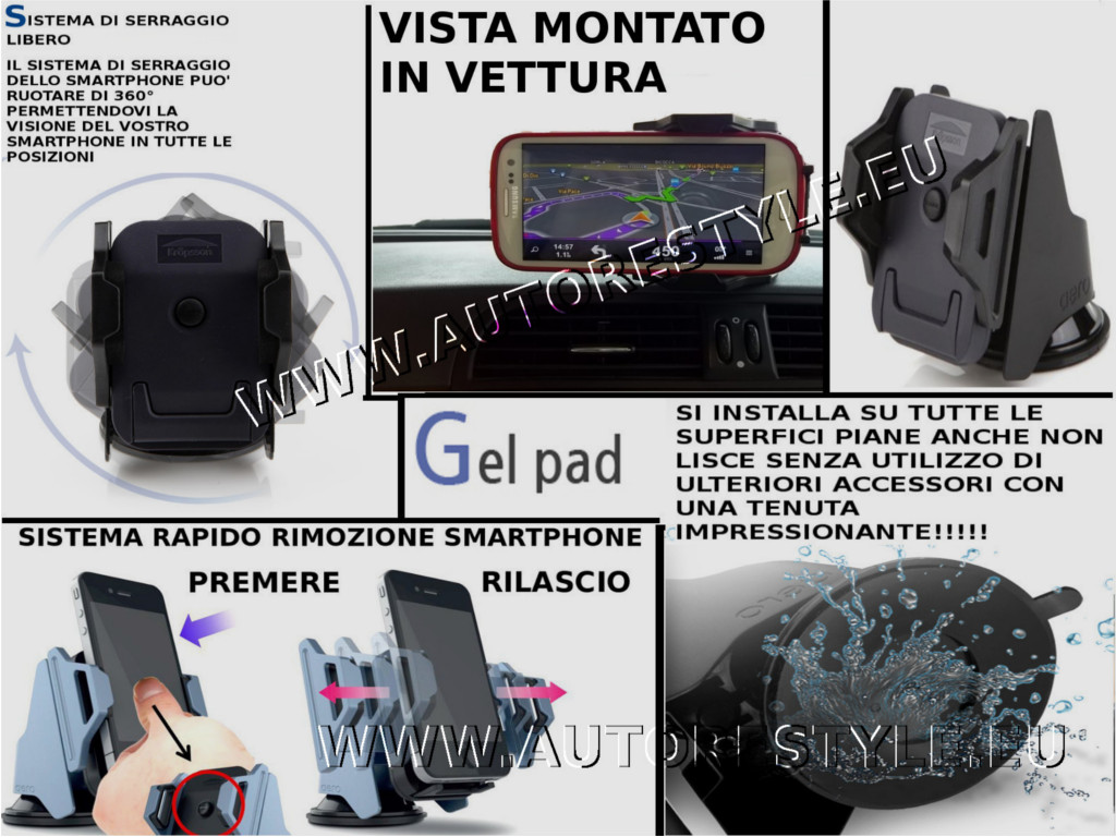 AERO SUPPORTO UNIVERSALE AUTO MACCHINA SMARTPHONE GALAXY IPHONE LUMIA SU TUTTE SUPERFICI PIANE GEL PAD