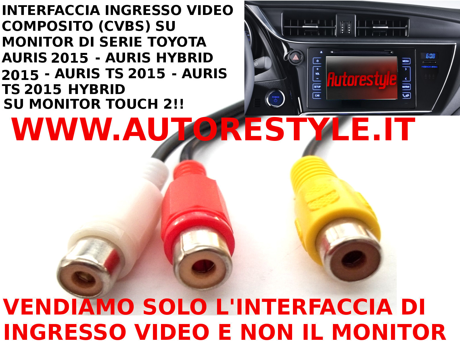 INTERFACCIA DI INGRESSO VIDEO COMPOSITO RCA MONITOR TOUCH 2 DI SERIE AURIS HYBRID 2015 AURIS TS HYBRID 2015 AURIS 2015