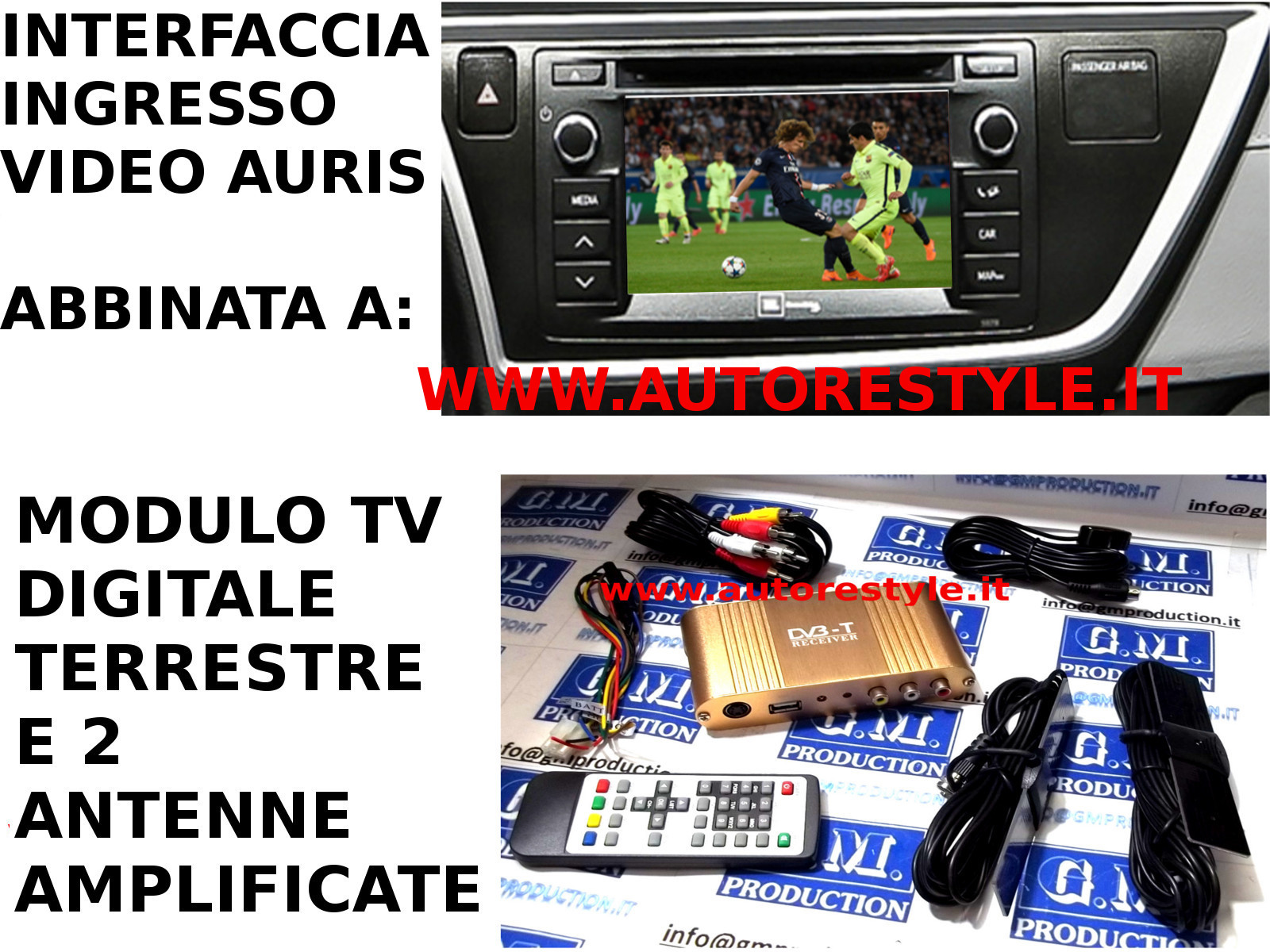 INGRESSO AUDIO VIDEO RCA (CVBS ) SU MONITOR DI SERIE TOYOTA AURIS 2012 AURIS HYBRID 2012 AURIS TS 2013 E TV DIGITALE TERRESTRE