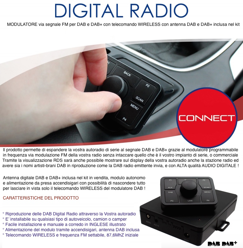 INTERFACCIA RICEVITORE E ANTENNA DAB DAB+ Digital Radio RDS modulatore FM per JEEP DODGE CHRYSLER