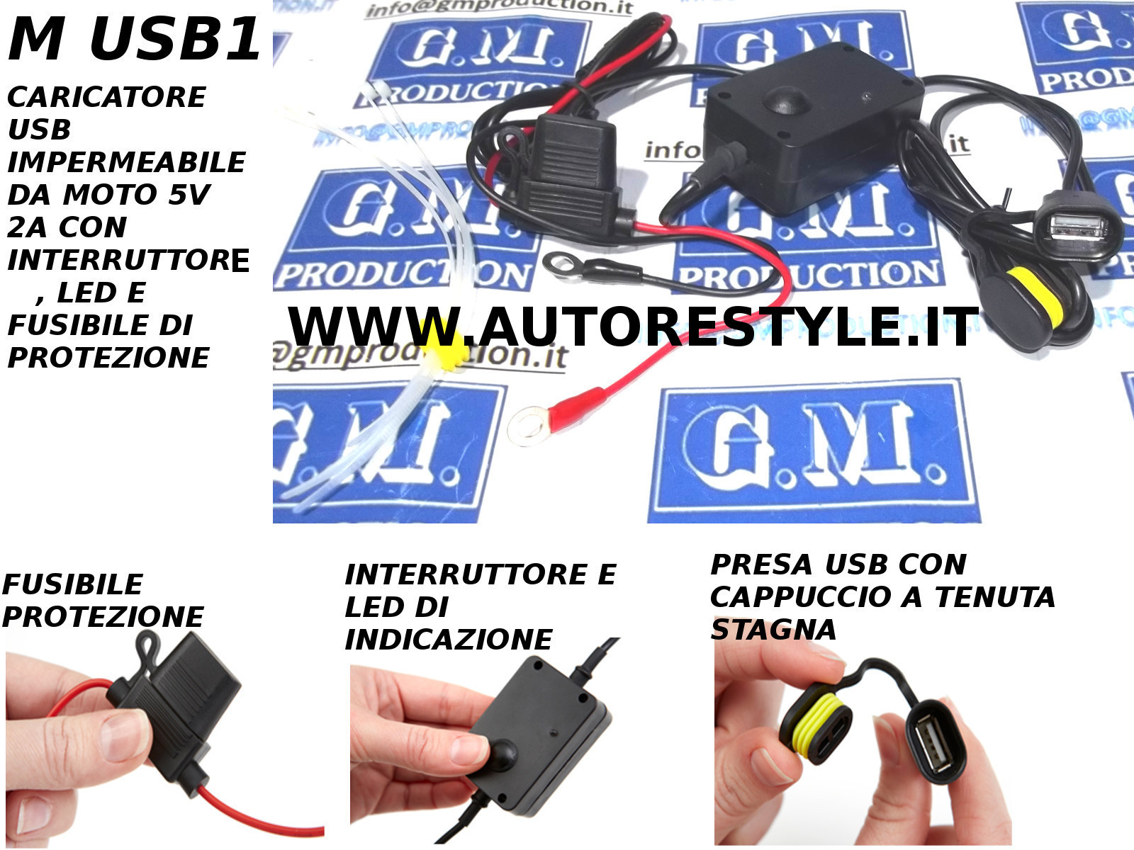 CARICATORE PRESA USB 5V 2A MOTO IMPERMEABILE CON INTERRUTTORE E FUSIBILE IPHONE 4 5 6 IPAD GALAXY S3 S4 S5 S6 NOTE