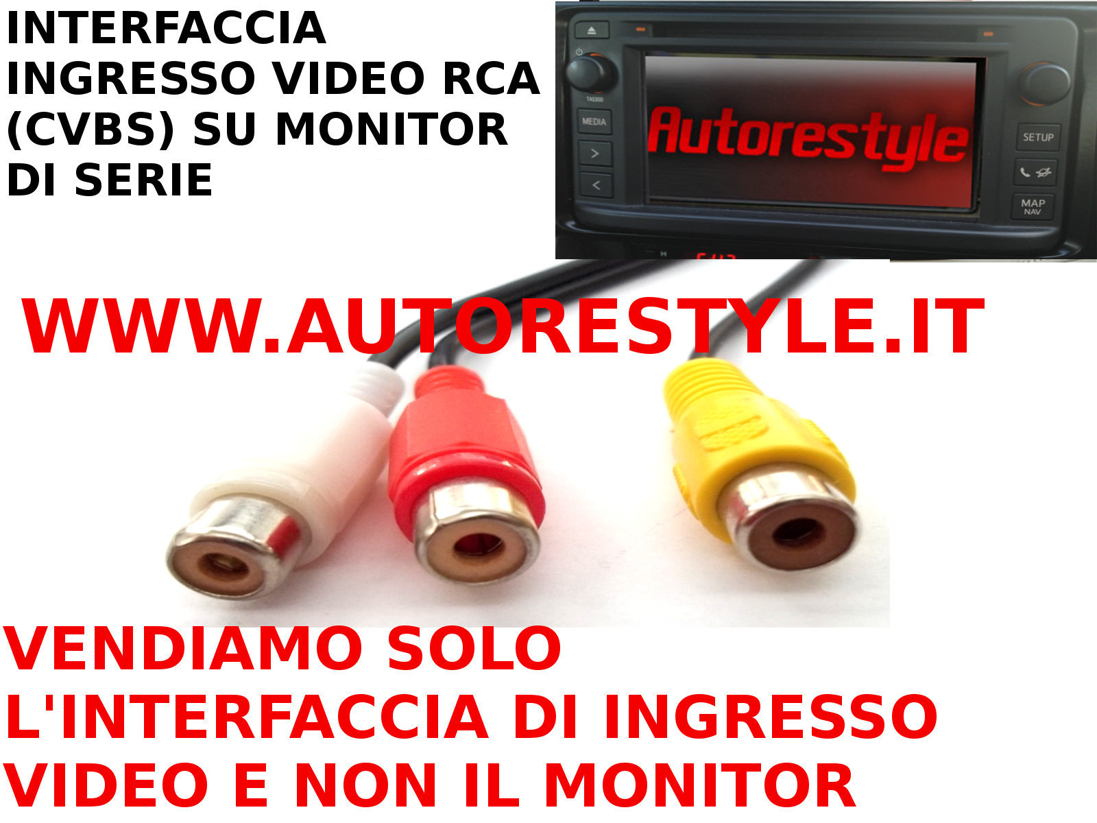INGRESSO VIDEO COMPOSITO RCA SU MONITOR DI SERIE SUBARU BRZ IMPREZA FORESTER DAL 2012 CON TASTO MEDIA