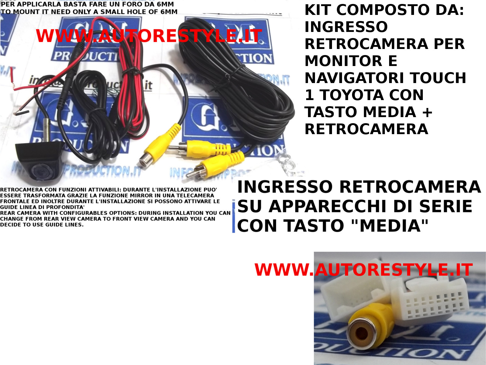 INTERFACCIA INGRESSO RETROCAMERA E RETROCAMERA TOYOTA GT86 PRIUS PRIUS PLUS AURIS 2012 YARIS 2012 RAV4 2012