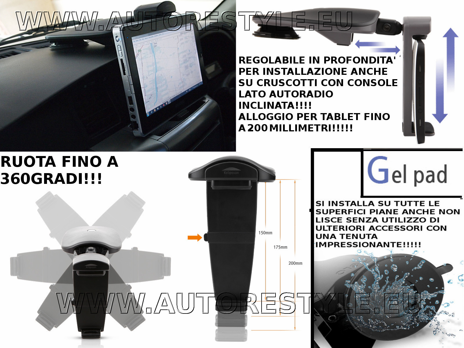 HR-P850FTP SUPPORTO TABLET Nexus Galaxy TAB Note&Note2, Optimus Pad IPAD SISTEMA GEL PAD KINDLE MICROSOFT SURFACE
