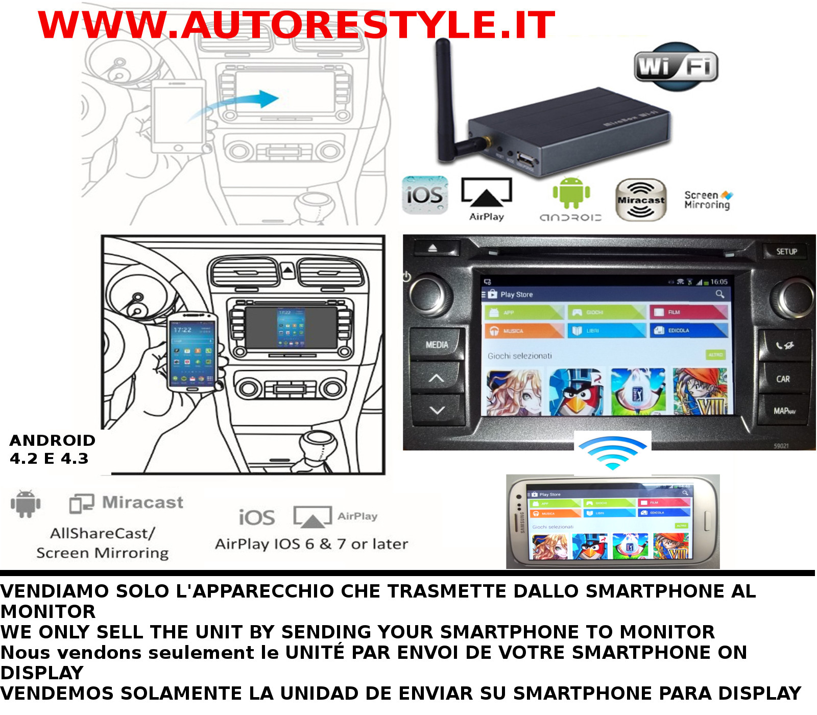 MONITOR AUTO MIRRORLINK ANDROID MIRACAST IPHONE AIRPLAY SCREEN MIRRORING SU RCA