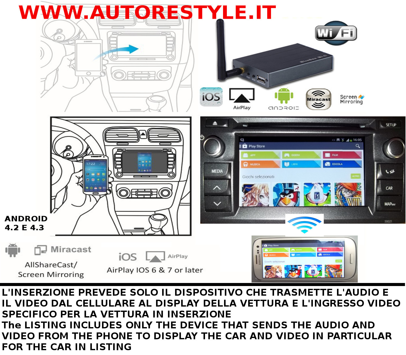 INTERFACCIA VIDEO ANDROID MIRACAST IPHONE AIRPLAY MONITOR DI SERIE RAV4 2013